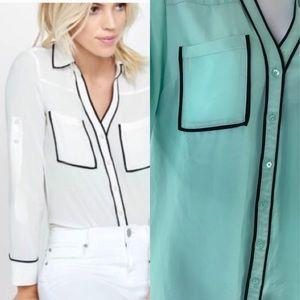 Express Original Portofino Shirt Aqua Black Trim M